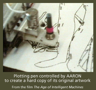 AARON controlling a plotting pen to create original artwork