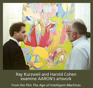 Ray Kurzweil and Harold Cohen examine AARON's artwork
